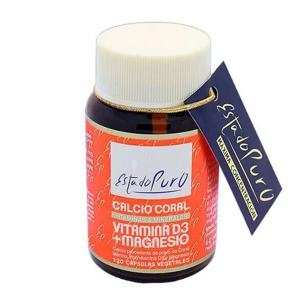 Estado Puro Calcio Coral con Vitamina D3 + Magnesio - 120 Cápsulas