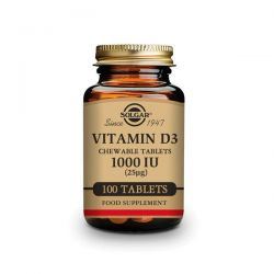 Vitamina D3 1000 UI (25mg) (Colecalciferol) - 100 Comprimidos masticables [Solgar]