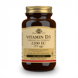 Vitamina D3 (Colecalciferol) 2200IU (55mcg) - 100 cápsulas vegetales