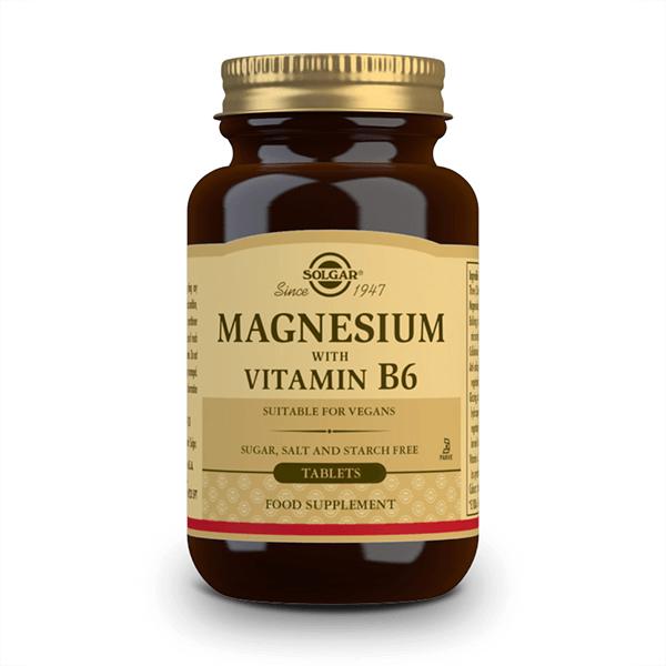 Magnesio + Vitamina B6 de 250 tabletas de la marca Solgar
