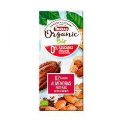 Dark chocolate 62% cocoa with whole almonds bio - 150g