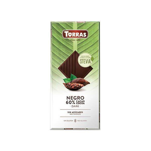 Chocolate Negro 60% Cacao con Stevia - 100g