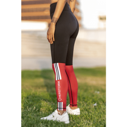 Legging Bar Layered Rojo Oscuro y Negro